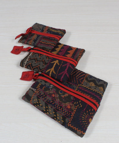Black Maroon Lambani Embroidery Pouch Set