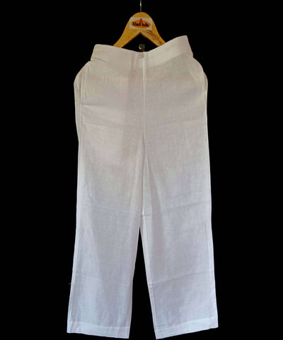 White handspun handloom cotton trouser