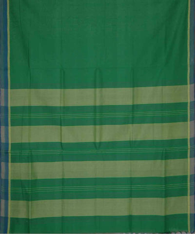 Green Beige Handwoven Plain Cotton Saree