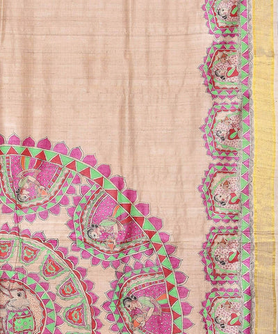 Madhubani Hand Painted Beige Silk Saree