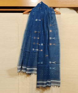 Dark Blue Natural Dye Handwoven Jamdani Cotton Stole