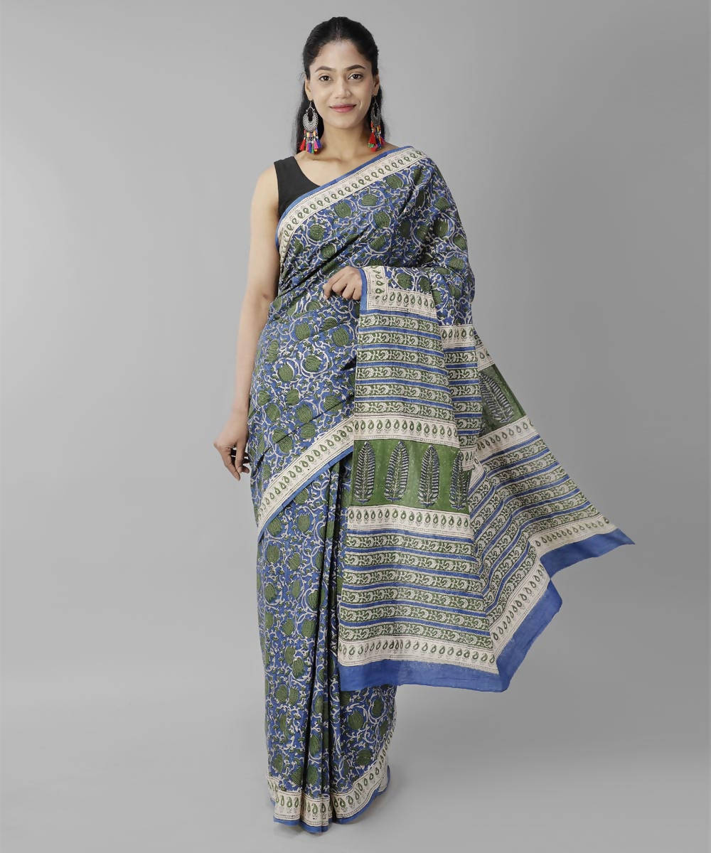 Blue green bagru handblock printed cotton saree