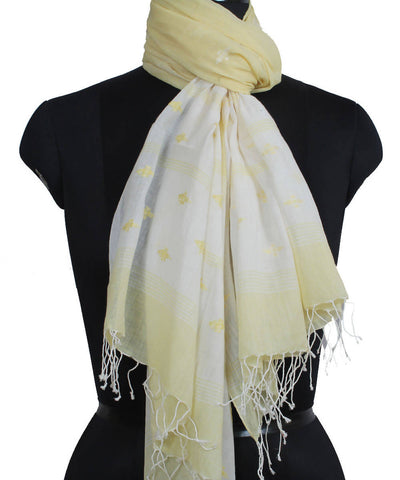 Lemon Yellow Bengal Handloom Jamdani Stole