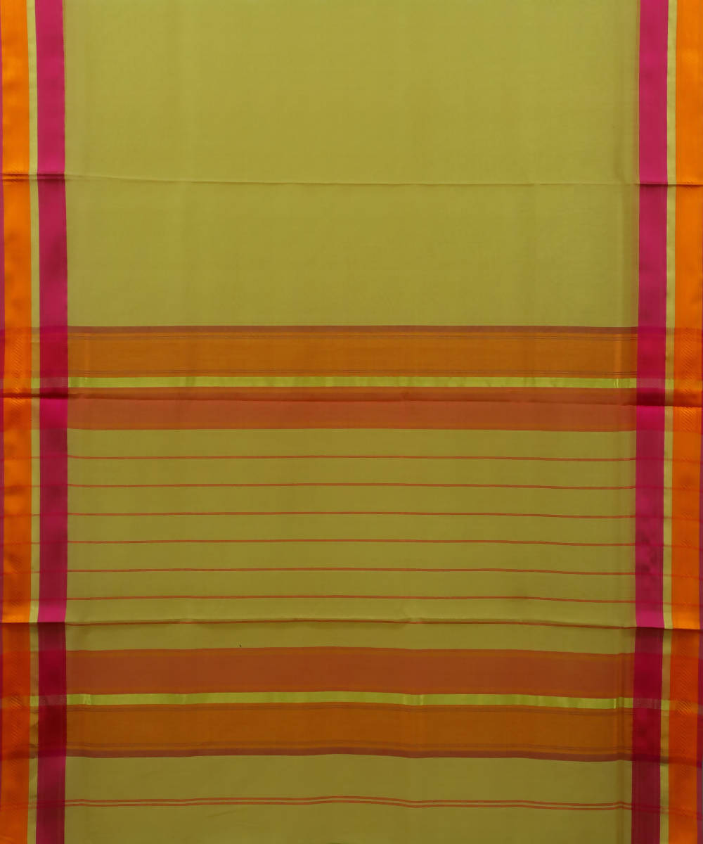 Maheshwari Handloom Lemon Yellow Sico Saree