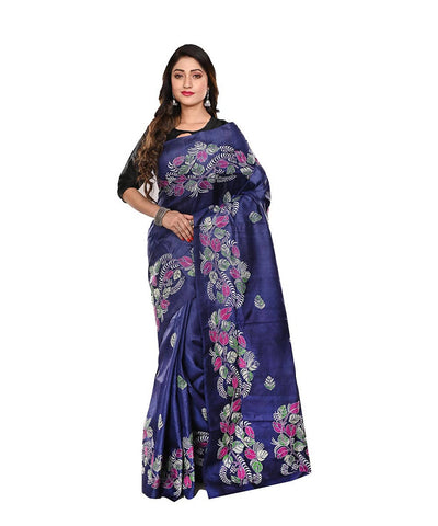 Kantha Stitch Tussar Handloom Navy Blue Saree