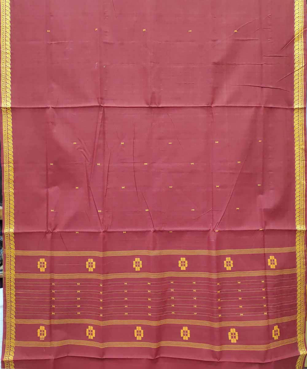 English red handloom cotton venkatagiri saree