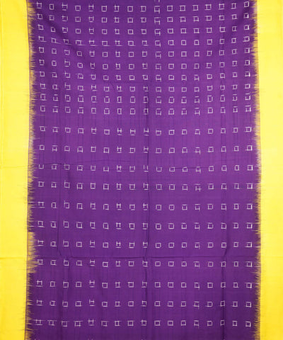 Purple Yellow Handloom Pochampally Ikat Saree