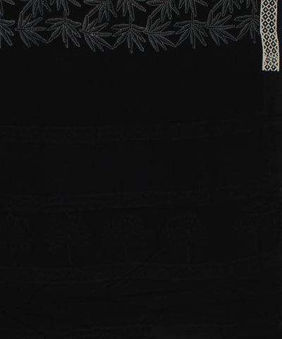Black Handblock Print Handloom Cotton Saree