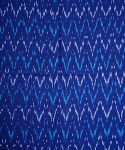 Handloom Royal Blue Pochampally Ikkat Fabric