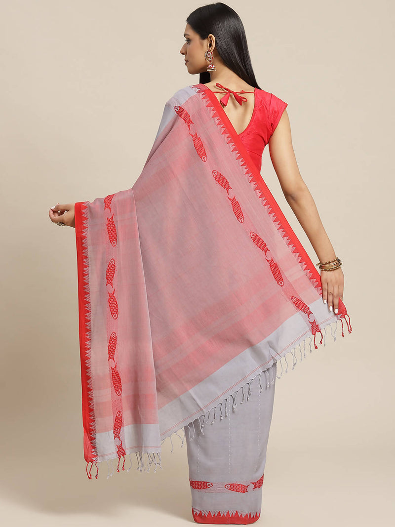 Biswa bangla handwoven grey and red mercerised cotton saree