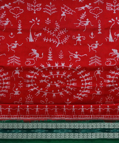 Red Sambalpuri Ikkat Handloom silk Saree