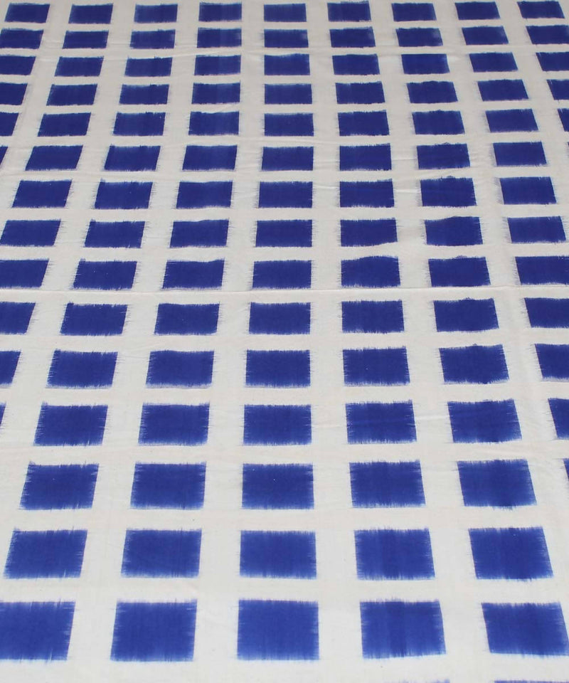 Blue White Pochampally Handloom Bed Cover