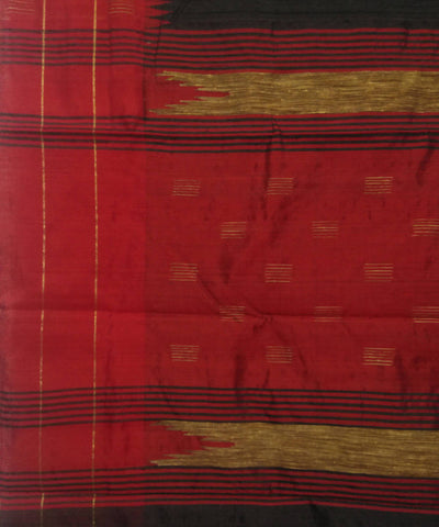 Handwoven Black Red Silk Dupion Saree