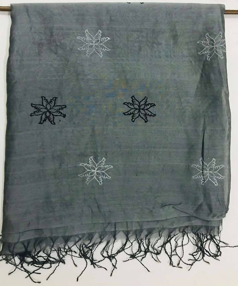Dark grey Hand Block Print Cotton Silk Dupatta