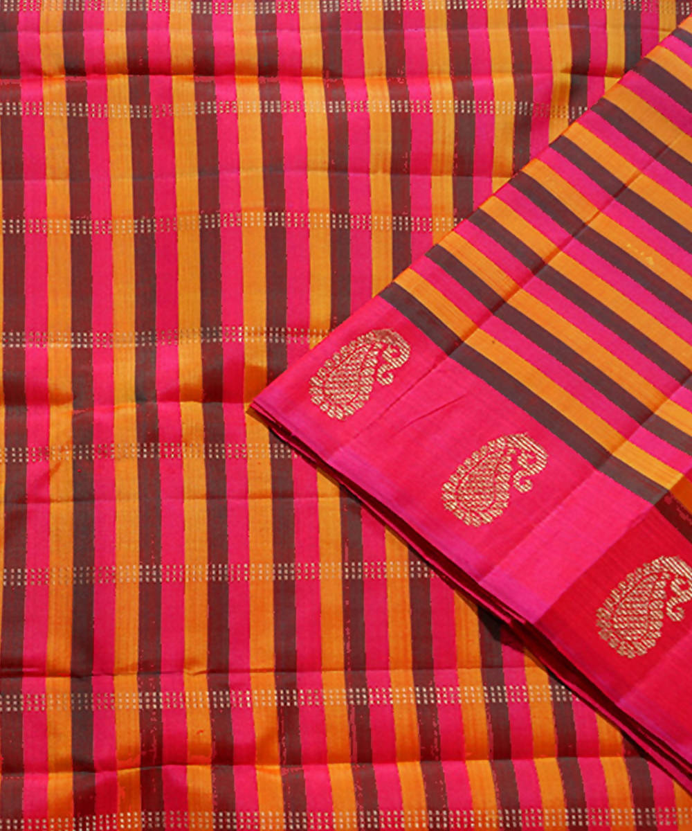 Red Stripe Handloom Kancheepuram Silk Saree