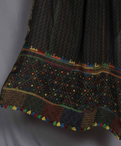 Hand Embroidery Black Printed Cotton Dupatta