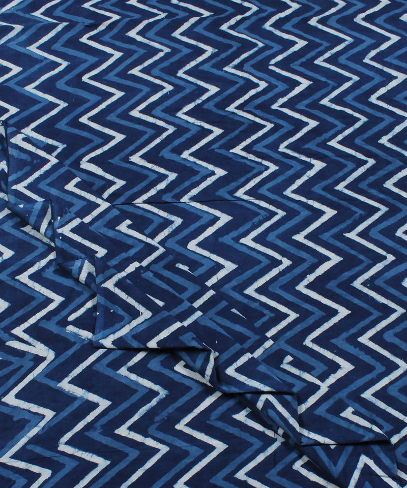 Indigo Zig Zag Dabu Print Cotton Fabric