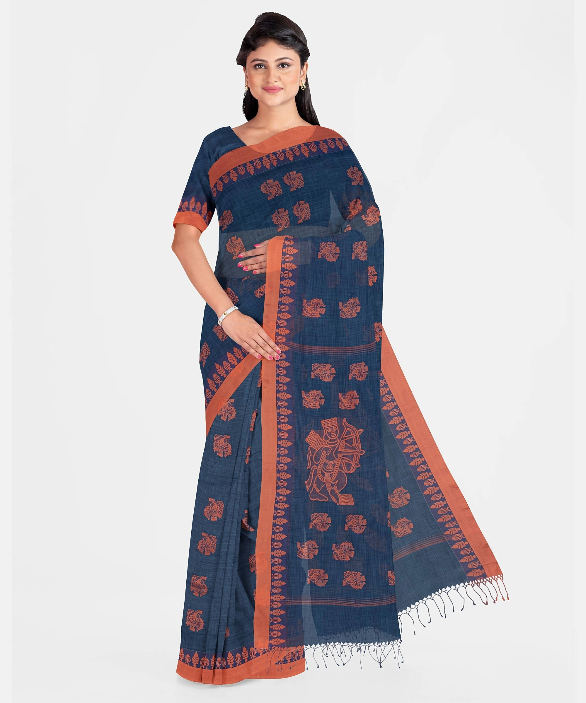 Biswa Bangla Handwoven Muslin Saree - Blue and Rust