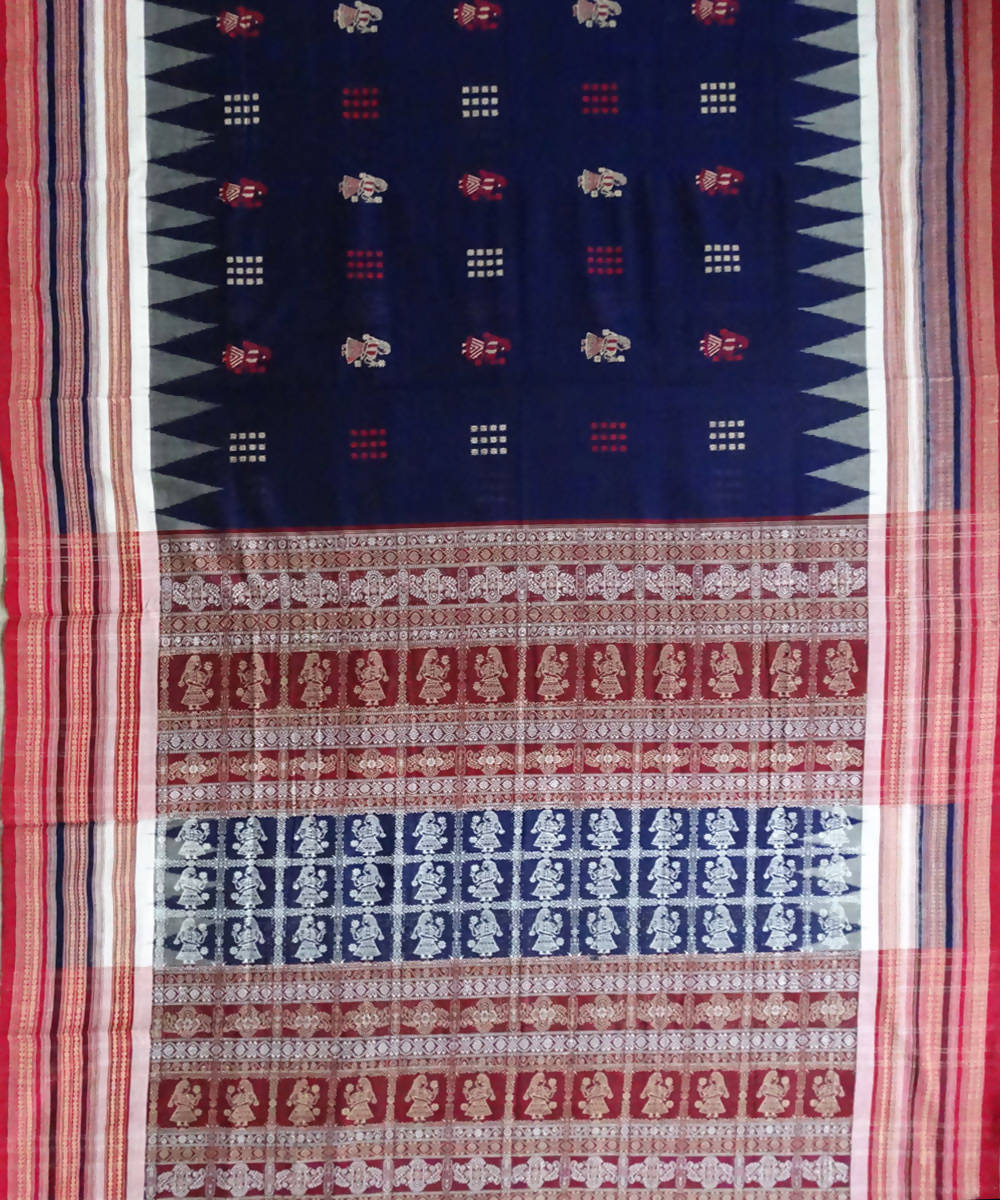 Duke Blue Bomkai Handwoven Cotton Saree