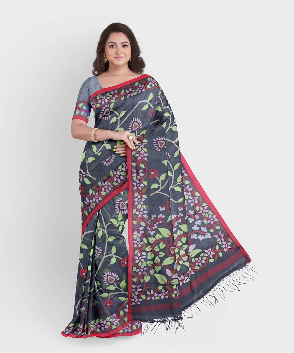 Biswa bangla handwoven black kora silk jamdani saree