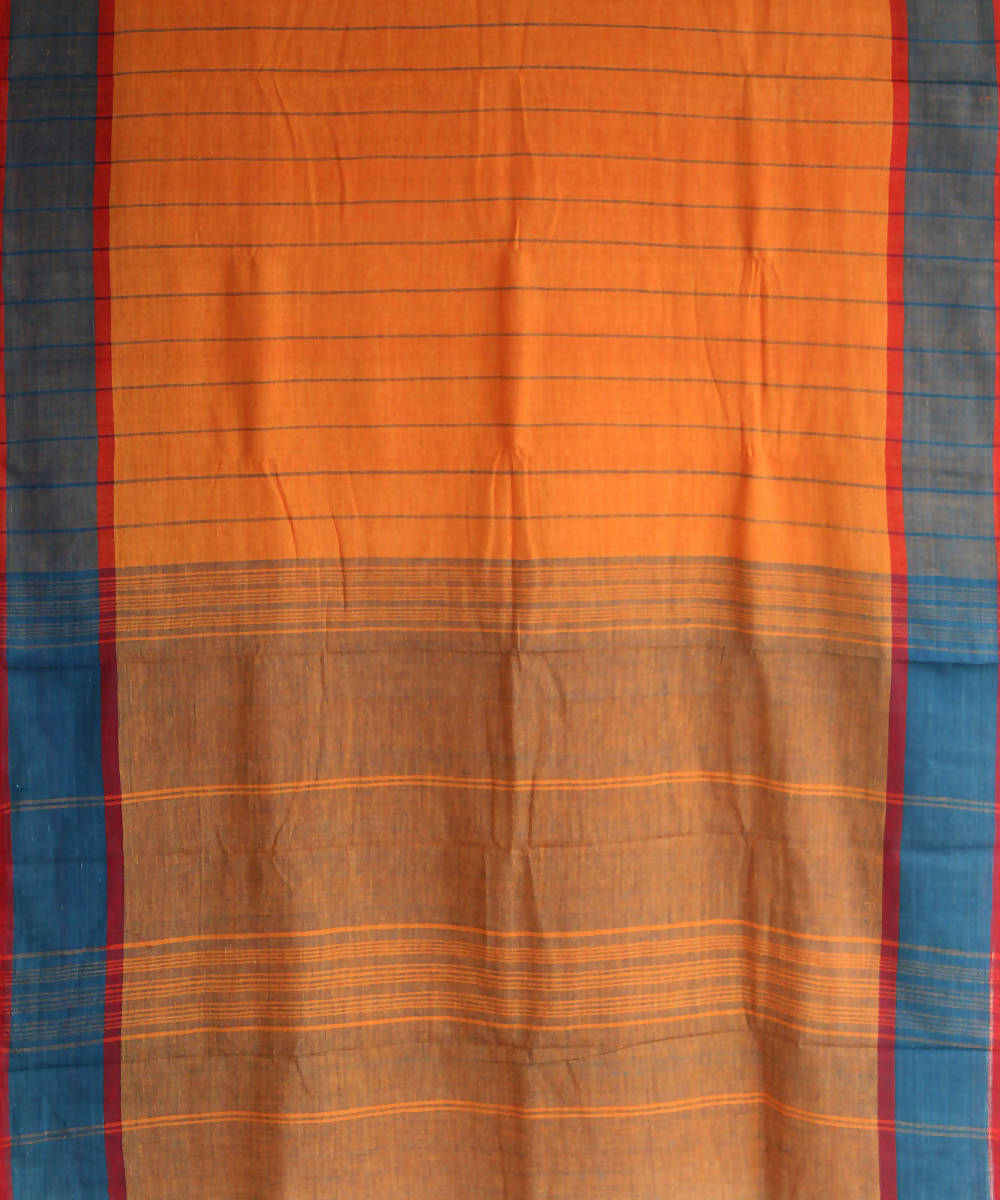orange blue khadi handwoven cotton saree
