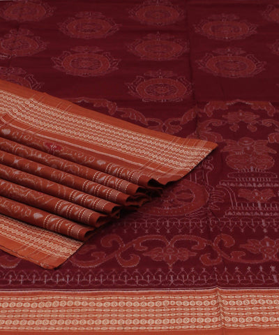 Maroon Coral Sambalpuri Handloom Cotton Saree