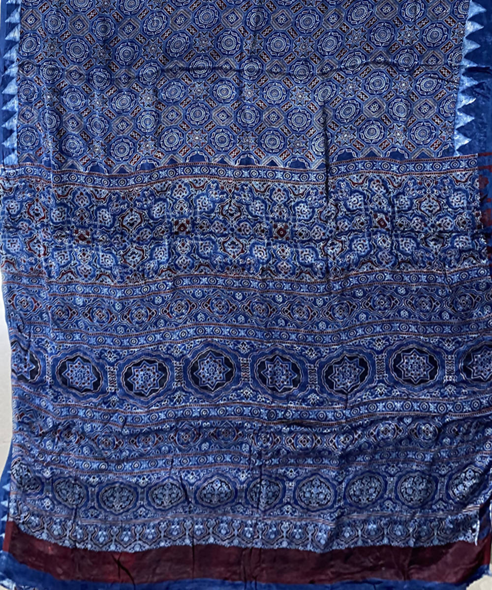 Dark blue handblock print chanderi cotton saree