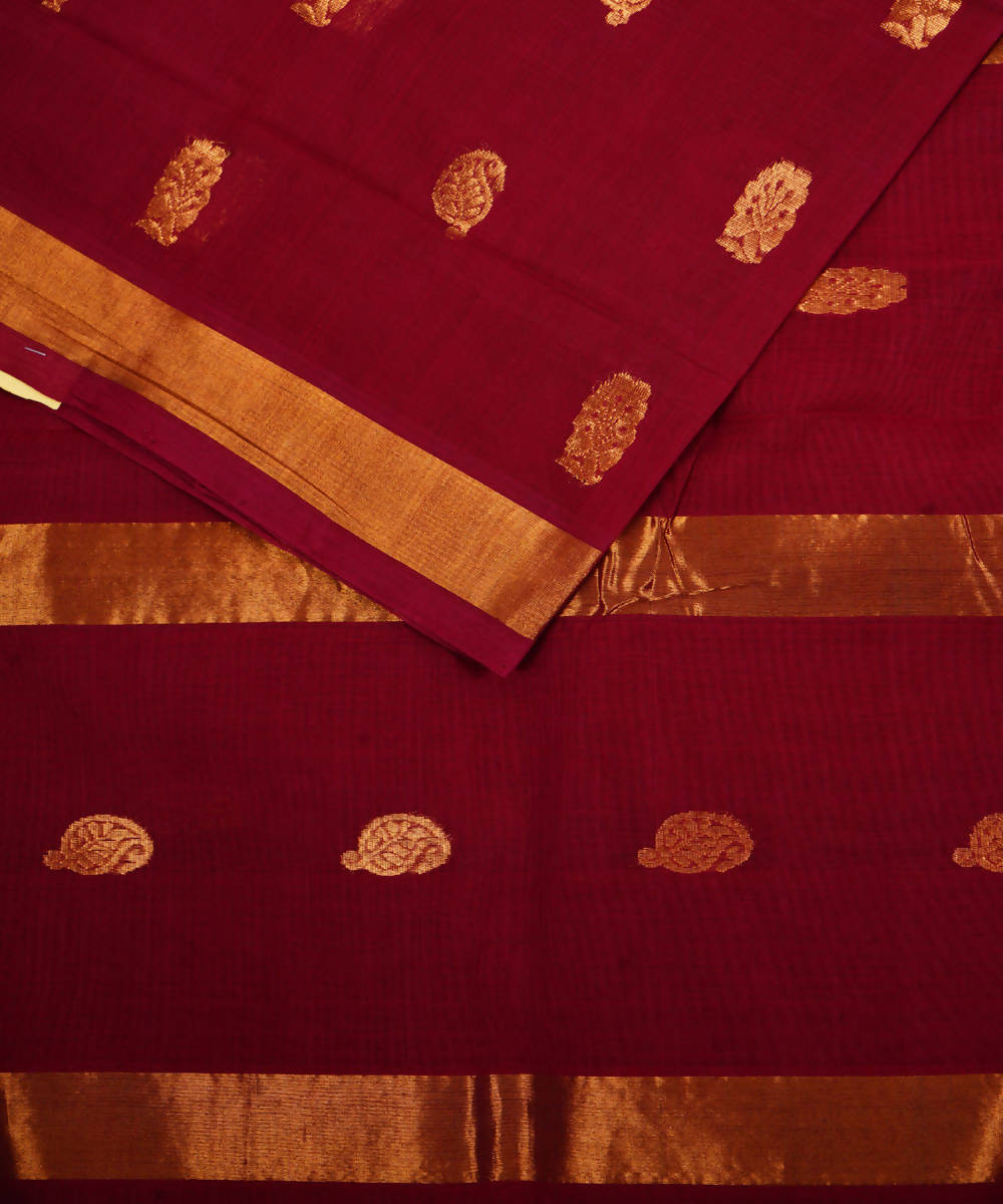 Handloom Maroon Venkatagiri Cotton Saree