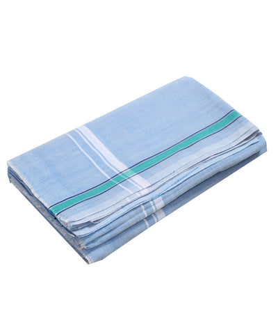Handwoven Sky Blue Cotton Dhoti