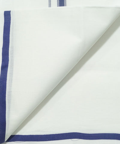 Handwoven White with Blue Single Cotton Dhoti