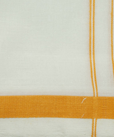 Handloom White Yellow Single Cotton Dhoti