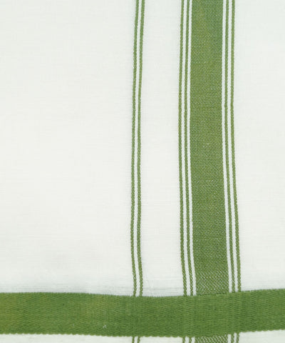 White with Green Handloom Double Cotton Dhoti