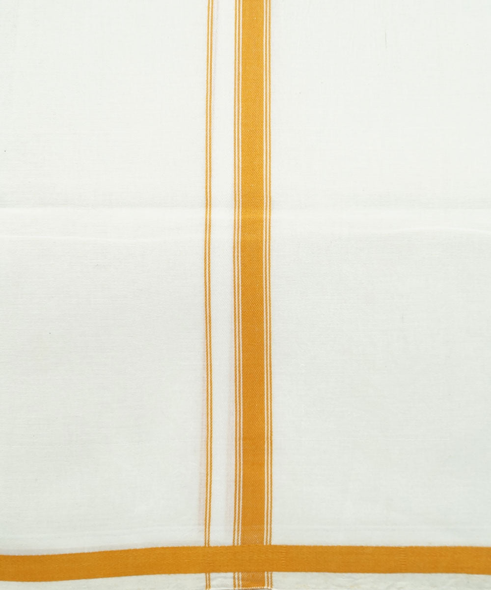 White Yellow Handloom Double Cotton Dhoti