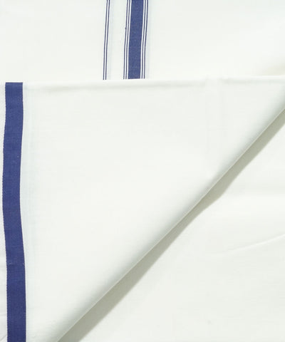 White with Blue Handwoven Double Cotton Dhoti