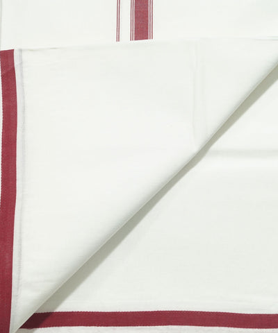 White with Brown Handloom Double Cotton Dhoti