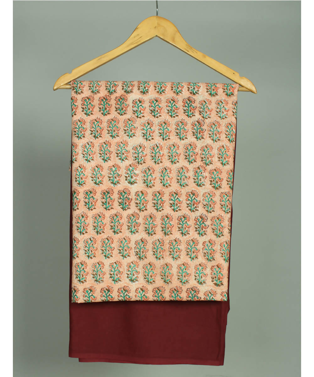 Peach maroon handblock printed cotton kurta and salwar fabric suit set