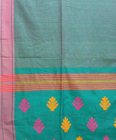 Pine green handwoven cotton bengal saree