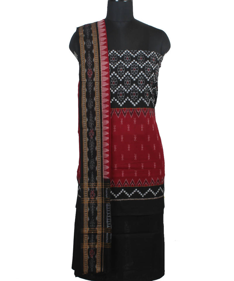 Black Red Handloom Pasapalli Cotton Suit Set