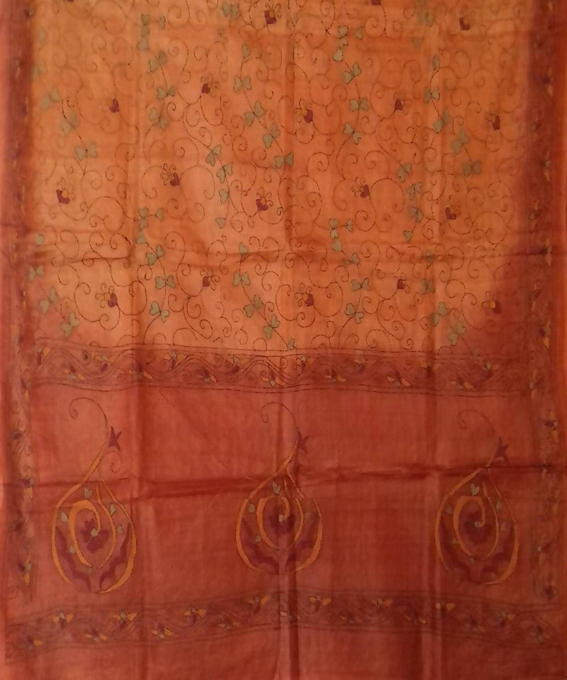 Rust orange kantha stitch Tussar Silk Dupatta