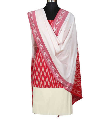 Red White Ikat Handloom Cotton Suit Set