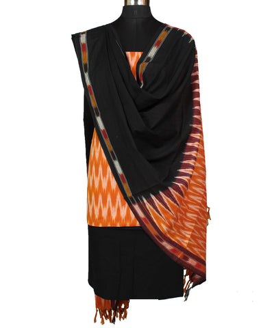 Handloom Mustard Ikat Cotton Dress Material