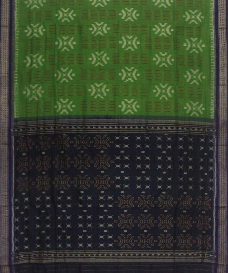 Light Green Black Handwoven Sambalpuri Saree