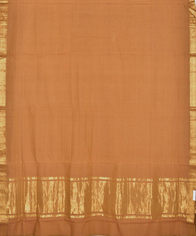 Brown mangalagiri handwoven cotton saree