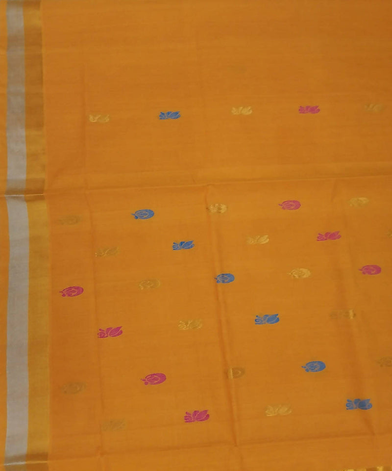 Yellow with butta handwoven venkatagiri cotton saree