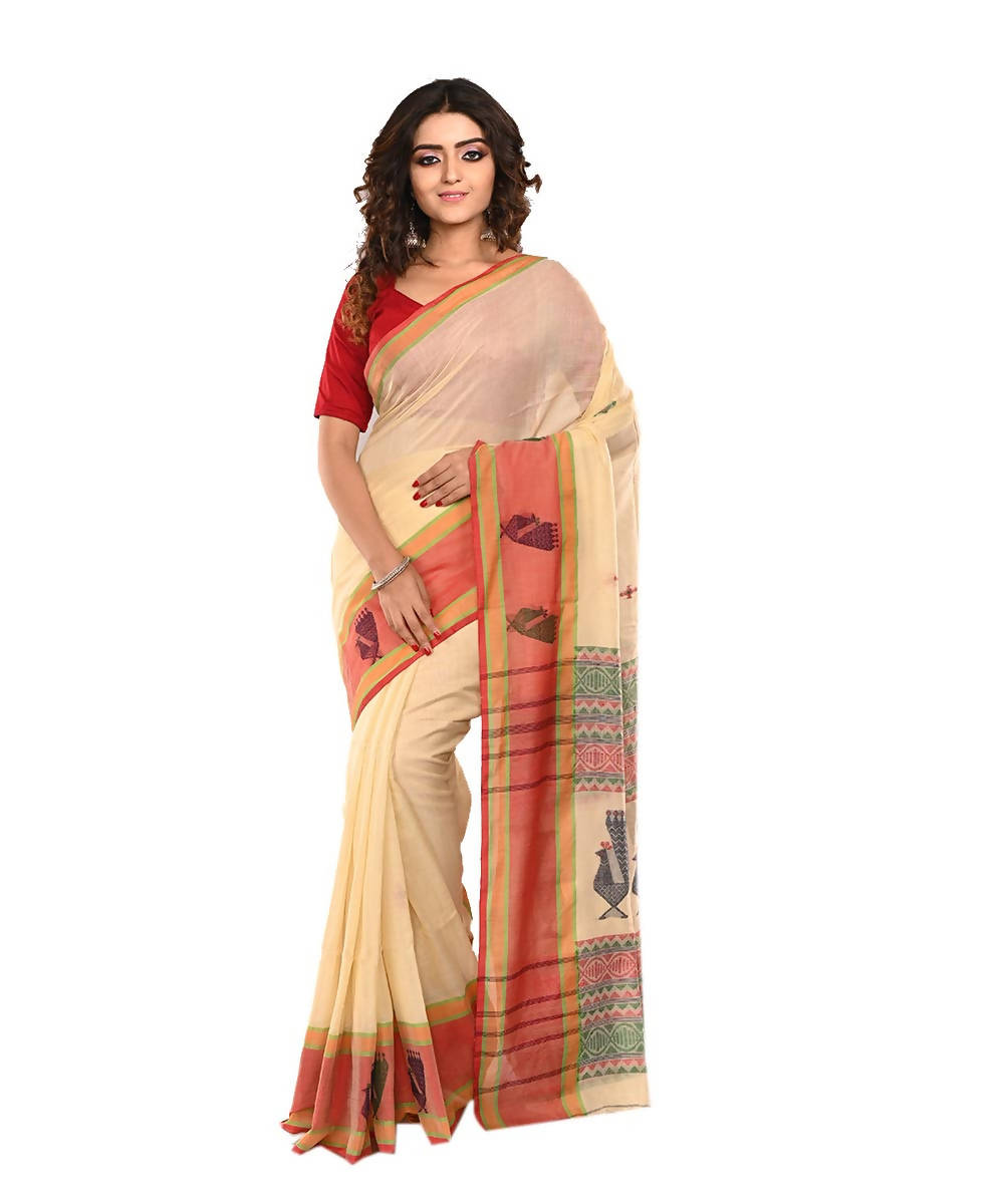 Cream Bengal Handloom Cotton Saree