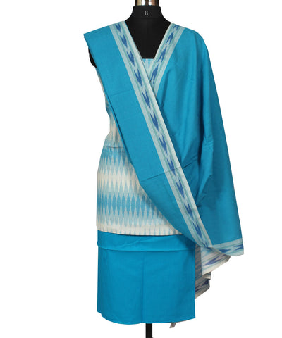 White and Blue Cotton Ikat Dress Material