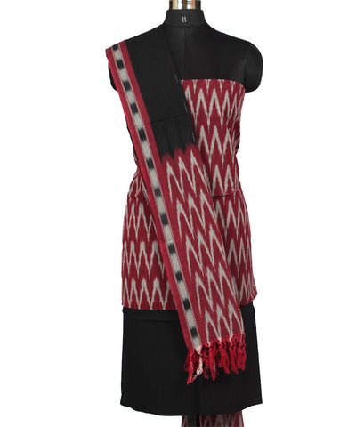 Burgundy and Black Cotton Ikat Dress Material