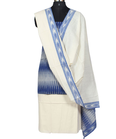 Cotton Ikat Dress Material in White and Blue