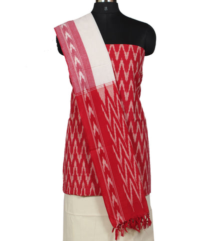 Red and White Cotton Ikat Dress Material