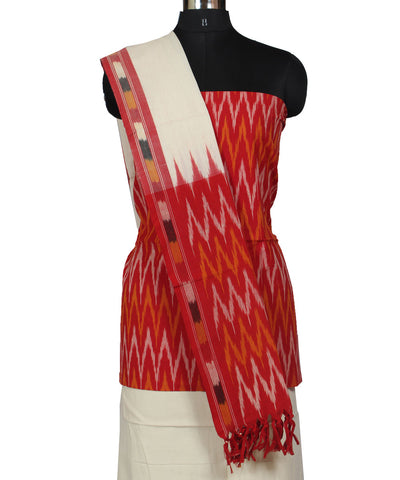 White and Red Cotton Ikat Dress Material